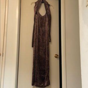 Brown Velvet Evening Gown